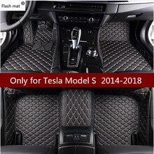 แฟลชMatรถหนังสำหรับTeslaรุ่นS 2014 2015 2016 2017 2018 Customแผ่นรถยนต์พรมรถครอบคลุม