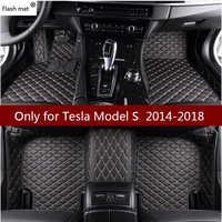 Mata błyskowa skórzane dywaniki samochodowe dla Tesla Model S 2014 2015 2016 2017 2018 niestandardowe plastry do stóp dywaniki samochodowe pokrowce samochodowe