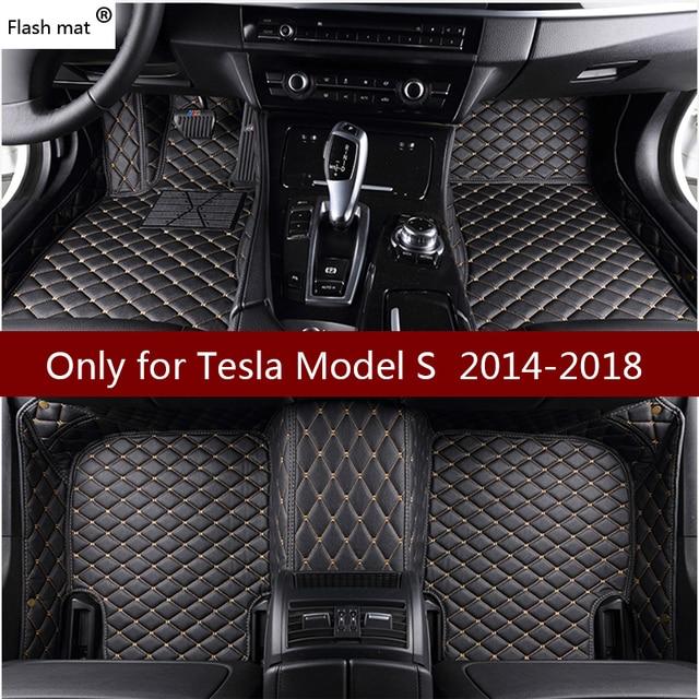 Флэш-мат кожаные автомобильные коврики для Тесла модель s 2014 2015 2016 2017 2018 пользовательских подушечки автомобильной ковер автомобиля охватывает