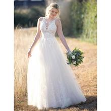 Halter Neck Backless Beaded Waist Tulle Wedding Dress Lace Top Appliques Floor Length Country Garden Bridal Gown halter backless shirred waist top