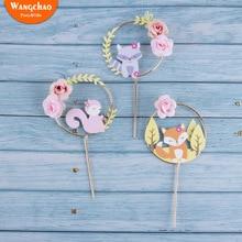 Cute Forest Animals Theme Cake Topper  Fox Squirrel Flower Wreath Garland Decoration Child Birthday Party Favors