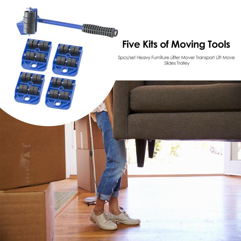 5pcs/set Easy Furniture Lifter Mover Tool Set Heavy Furniture Mover Transport Lift Move Slides Trolley Hand Tools