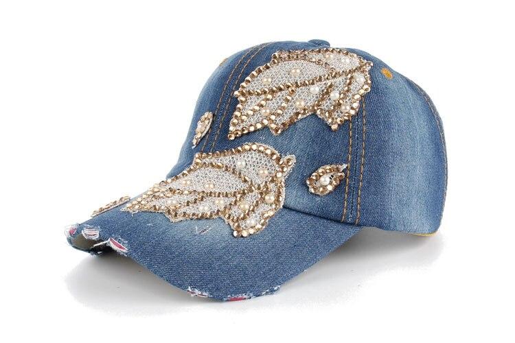 Высокое качество оптом и в розницу JoyMay шляпа Кепки Мода Досуг Стразы х/б джинсы лист Кепки S летние Бейсбол Кепки B235 - Цвет: Color no 3