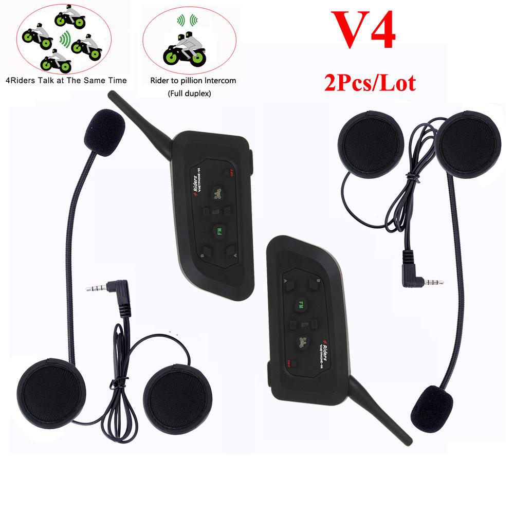 2018 Vnetphone V4 1200m Bluetooth Motorcycle Bike Interphone 4 Riders Headset Speaker Intercom for Motorcycle Rider Helmet защитное стекло onext xiaomi mi note
