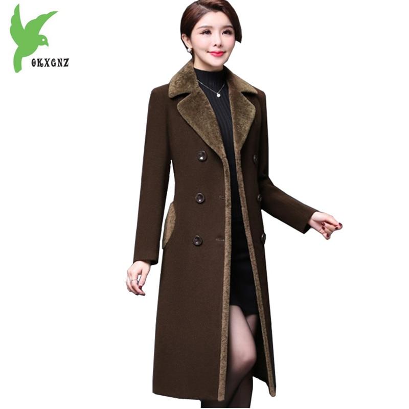 Boutique Women's Autumn Winter Trench Woolen Coats Plus size Warm Cashmere Coats Flocking Long section Slim Outerwear OKXGNZ1371