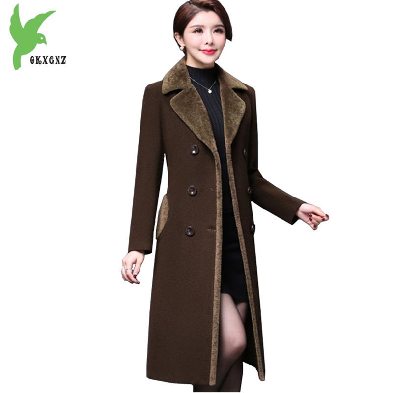 Boutique Women's Autumn Winter   Trench   Woolen Coats Plus size Warm Cashmere Coats Flocking Long section Slim Outerwear OKXGNZ1371