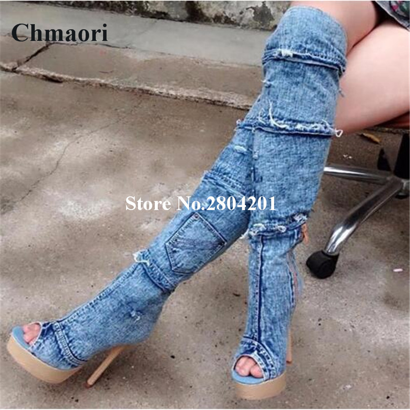 Hot Sale New Fashion Trend Denim Women Boots Peep Toe Joint Jeans Booties High Heels With Zipper Spring Autumn Shoes Women 2017 spring elastic frayed skinny jeans women classic high rise with rips two colors