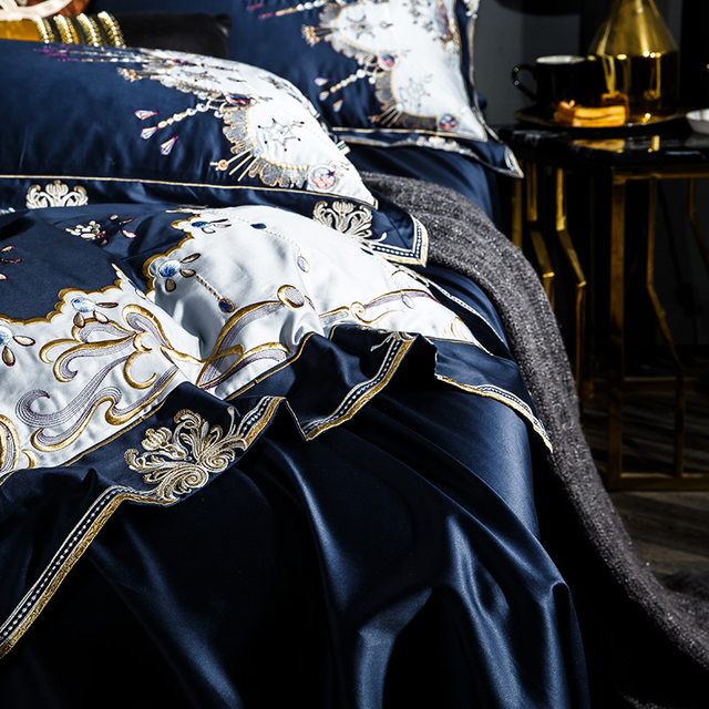 1000TC Egyptian cotton Blue Purple Bedding Set  Luxury Queen King size Bed sheet set Embroidery Duvet cover parure de lit adulte 5