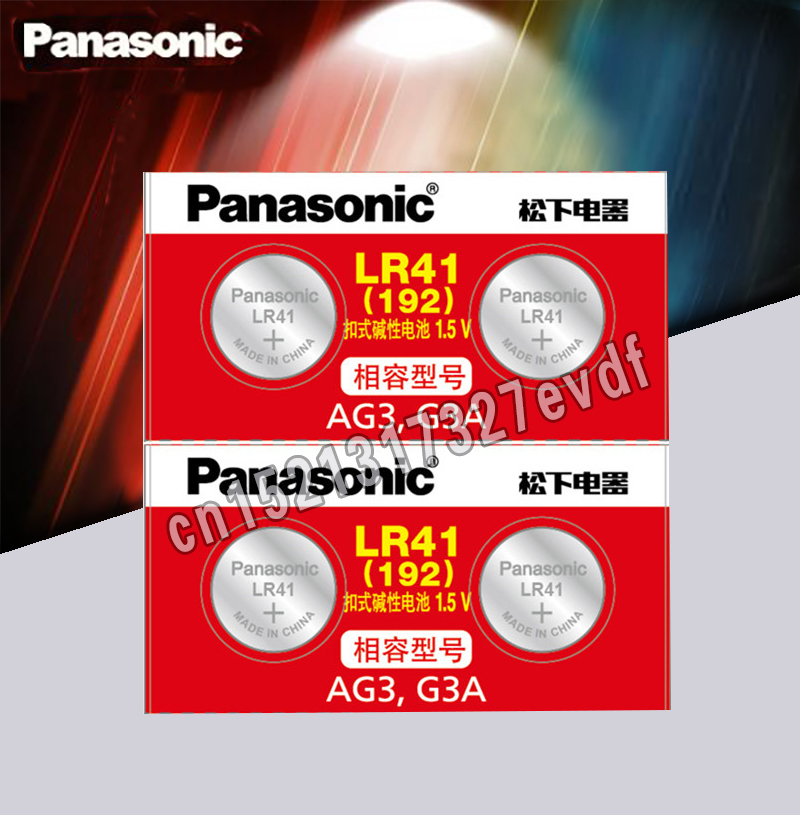 4pcs LR41 Button Cell Batteries Panasonic 100% Original SR41 AG3 G3A L736 192 392A Zn/MnO2 1.5V Lithium Coin Batteries
