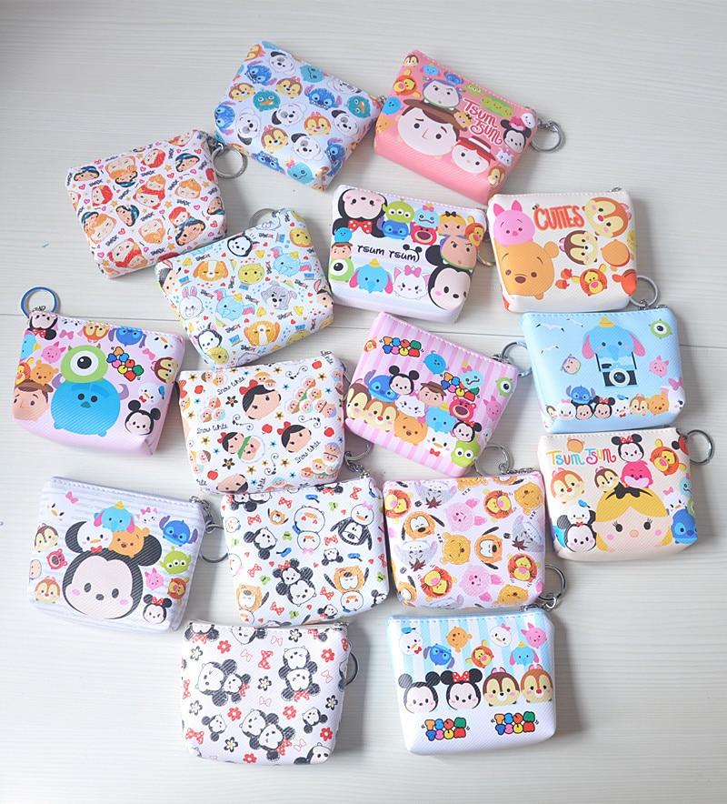 Disney Minnie Mouse Coin Purse Portable Multi-purpose Storage Coin Cartoon Purse Hand PU Pendant Wallet Card Bag