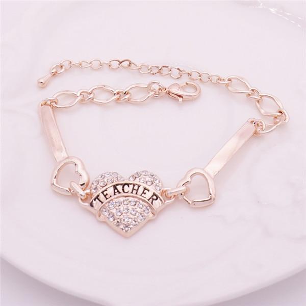 50bf25dfcb DIY Teacher Letters Bracelets Women Silver Crystal Rhinestone Heart Charm  Bracelet For Teacher's Day Bracelet Femme Jonc