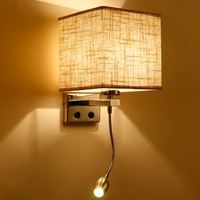 5 colors Modern brief bedside 1/2 head 3W led wall lamps plumbing hose rocker arm Reading wall lighting fabric ZBD0014