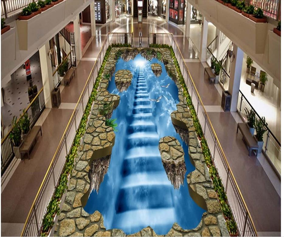 ФОТО Aisle hall ladder self-adhesive 3D floor wallpapers PVC waterproof floor Home Decoration 3d floor wallpapers