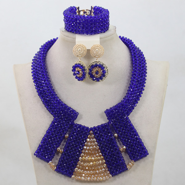 Popular Royal Blue Crystal Handmade Sets Nigerian African Wedding Bridal/Women Beads Necklace Jewelry Set Free Shipping ANJ221 стоимость