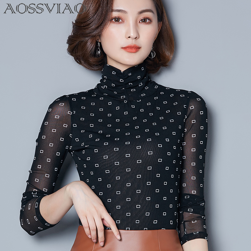 Vintage Print Plaid Shirt Mesh Turtleneck Long Sleeve Women Tops 2018 Autumn Slim Korean Blouse Womens Clothes Camisas Femininas