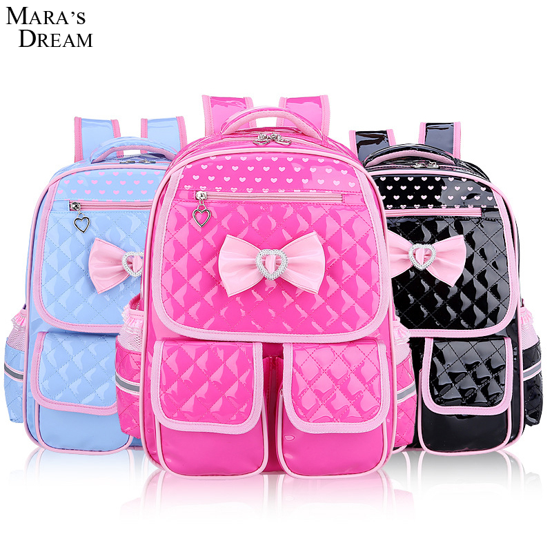 Maras Dream Children School Backpacks 2018 Cute Candy Color Bow Double Zippers and Pocket Dots Print Kids Shoulder School bags