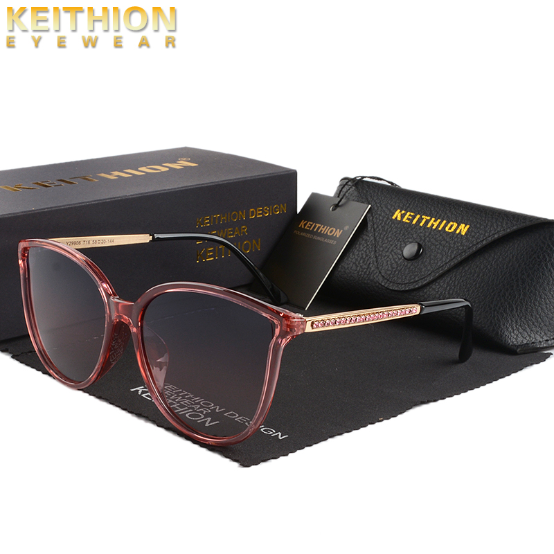 KEITHION New Luxury Polarized Women Sunglasses Fashion Round Ladies Vintage Brand Design cat eye woman Female Sun Glasses UV400