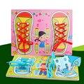 Обучение Деревянные Игрушки Головоломки Доска Kids Learn Галстука Ботинка Шнурок Игрушки Монтессори Образовательные Игрушки