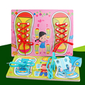 Teaching Wooden Toys Puzzles Board Kids Learn Tie Shoe Lace Toy Montessori Educational Toys