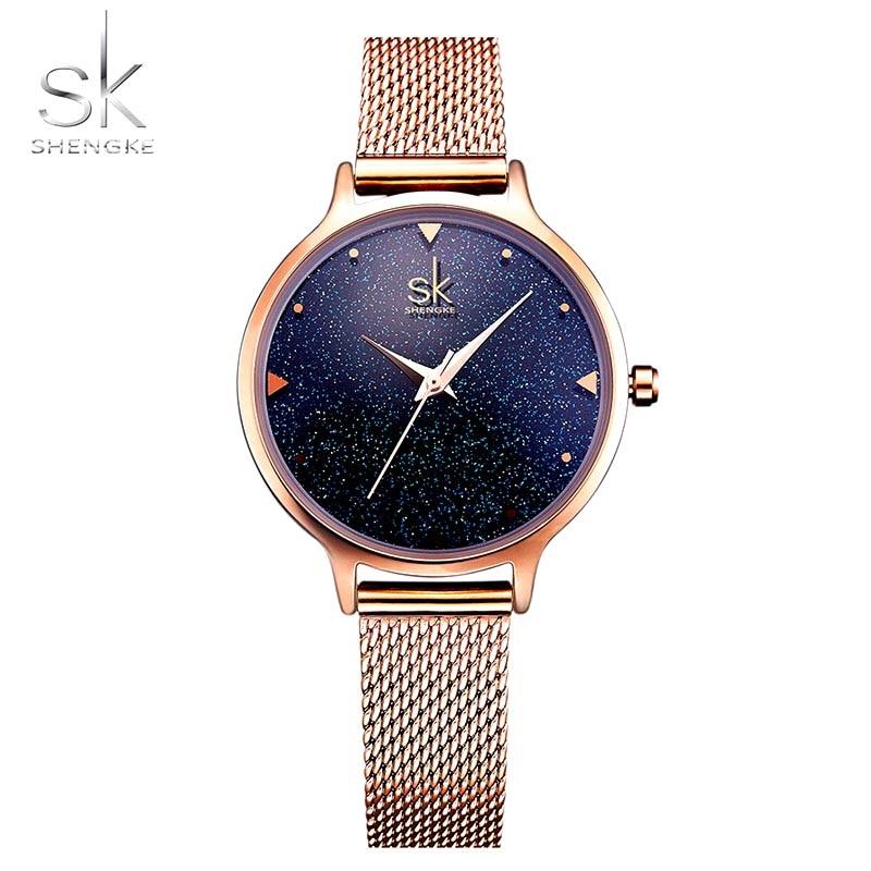 Quartz Watch Women SHENGKE Fashion Elegant Women Watch Luxury Brand Gold Ladies Casual Dress Wrist Watch Clock Female Girls