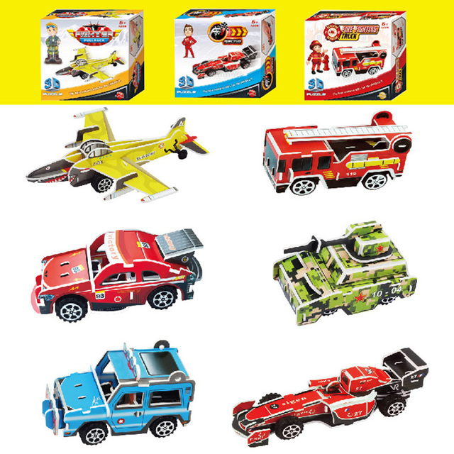 educational toys 3d puzzle pull back car plain paper model building kit baby toys diy kids