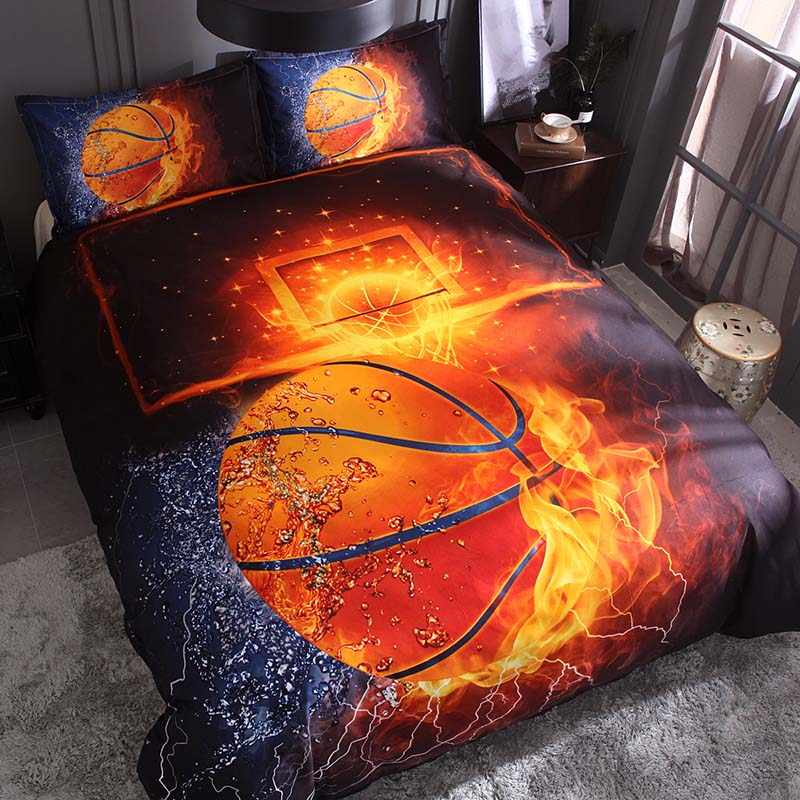 Juego de cama de baloncesto estampado 3D estilo deportivo fútbol edredón con funda de almohada colcha Queen King Size jogo de cama
