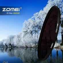Zomei filtro infravermelho raio x, 77mm 58mm 67mm 72mm ir filtro 680nm 720nm 760nm 850nm 950nm filtro infravermelho para canon nikon sony