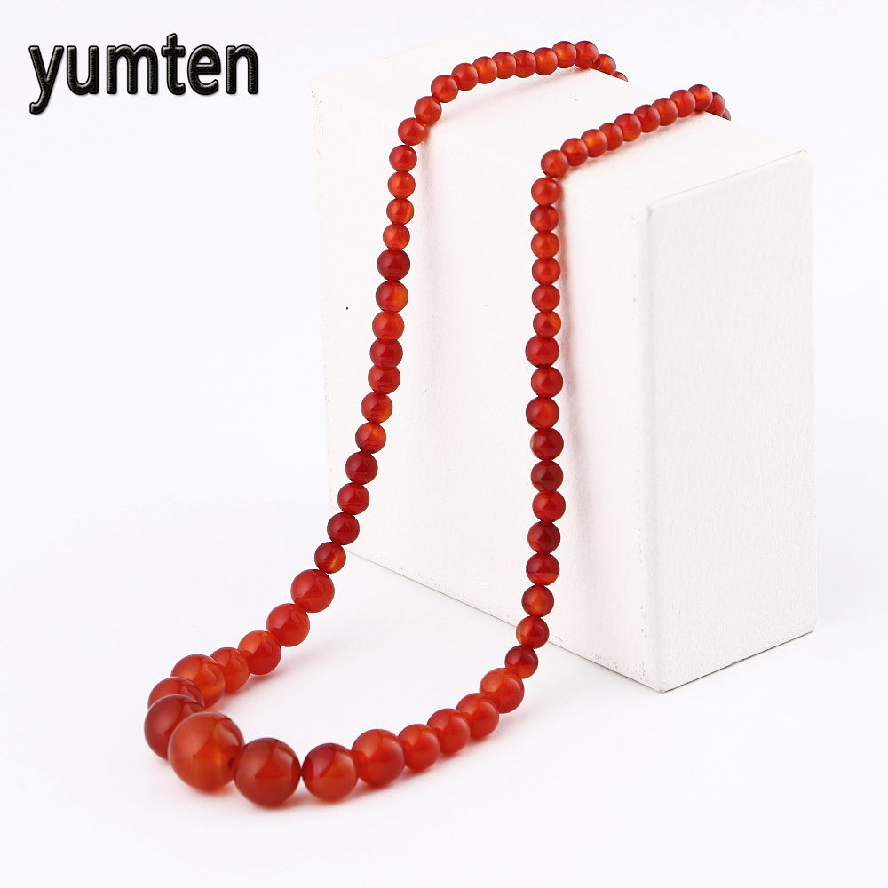 Natural Agate Stone Necklace Women Men Jewelry Necklaces Red