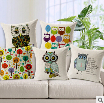 Home Decorative pillow cases linen Sofa Cushion Cover Throw Pillow Case Vintage Cotton Linen Square Cute Cartoon Owl zt02 - Natali Colthes Co.,LTD store