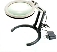 12 LED Desktop Magnifying Glass Lamp Hands Free Illuminated Magnifier W 2 Ways Batteries Or External
