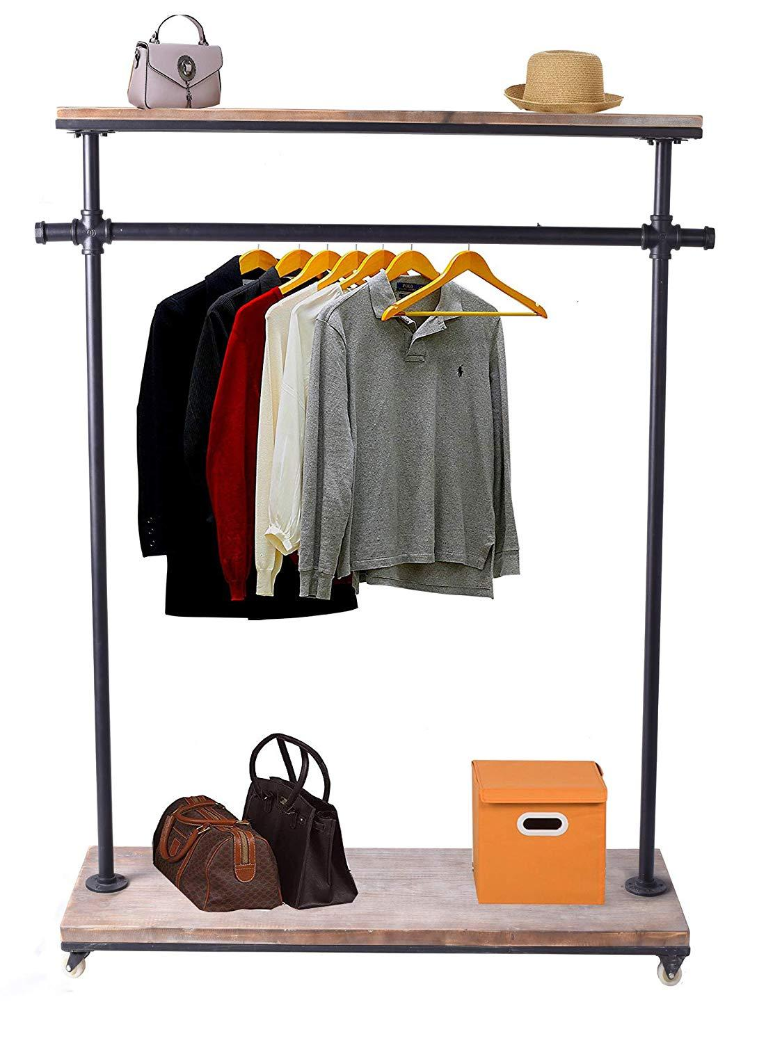 2 level commercial clothing rack industrial furniture pipe clothes rack rolling garment rack wooden clothes display rack