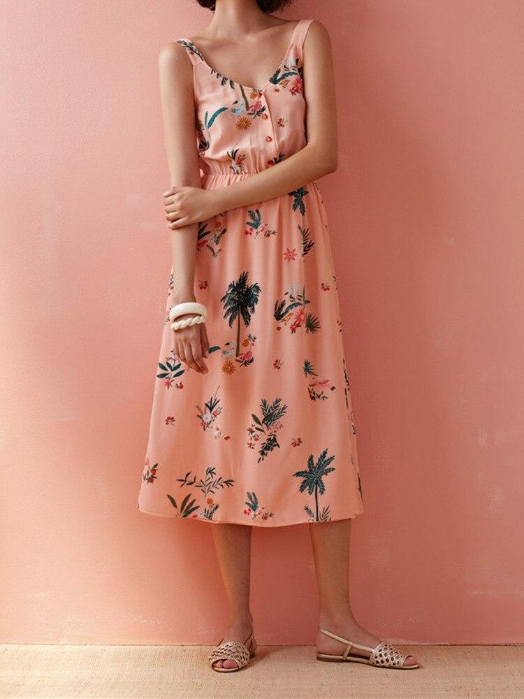 Kobiety różowy kwiat wydruku bez rękawów Midi sukienka 2019 nowy lato V Neck słodki długi sukienka w Suknie od Odzież damska na  Grupa 1