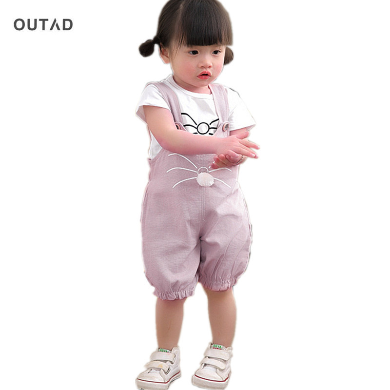 OUTAD Fashion Children Girls Boys Clothing Sets Summer Comfortable Cartoon Cat Printed Cotton Shirts + Suspenders Pant New Sale