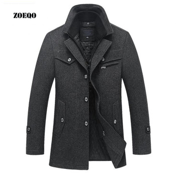 Drop shipping ZOEQO New Winter Wool Coat Slim Fit Jackets Mens Casual Warm Outerwear Jacket and coat Men Pea Coat Size M-4XL