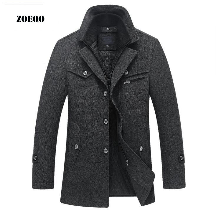 ZOEQO New 2019 Winter Wool Coat Slim Fit Jackets Mens Casual Warm Outerwear Jacket and coat Men Pea Coat Size M-4XL