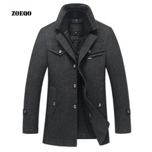 Dropshipping ZOEQO Winter Wool Slim Fit Casual Warm Outerwear Jacket and coat Men Pea