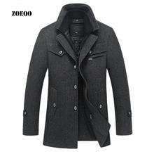 Dropshipping. exclusivo. ZOEQO nuevo invierno lana abrigo chaquetas Casual para hombre abrigo chaqueta y abrigo de los hombres abrigo de tamaño m-4XL