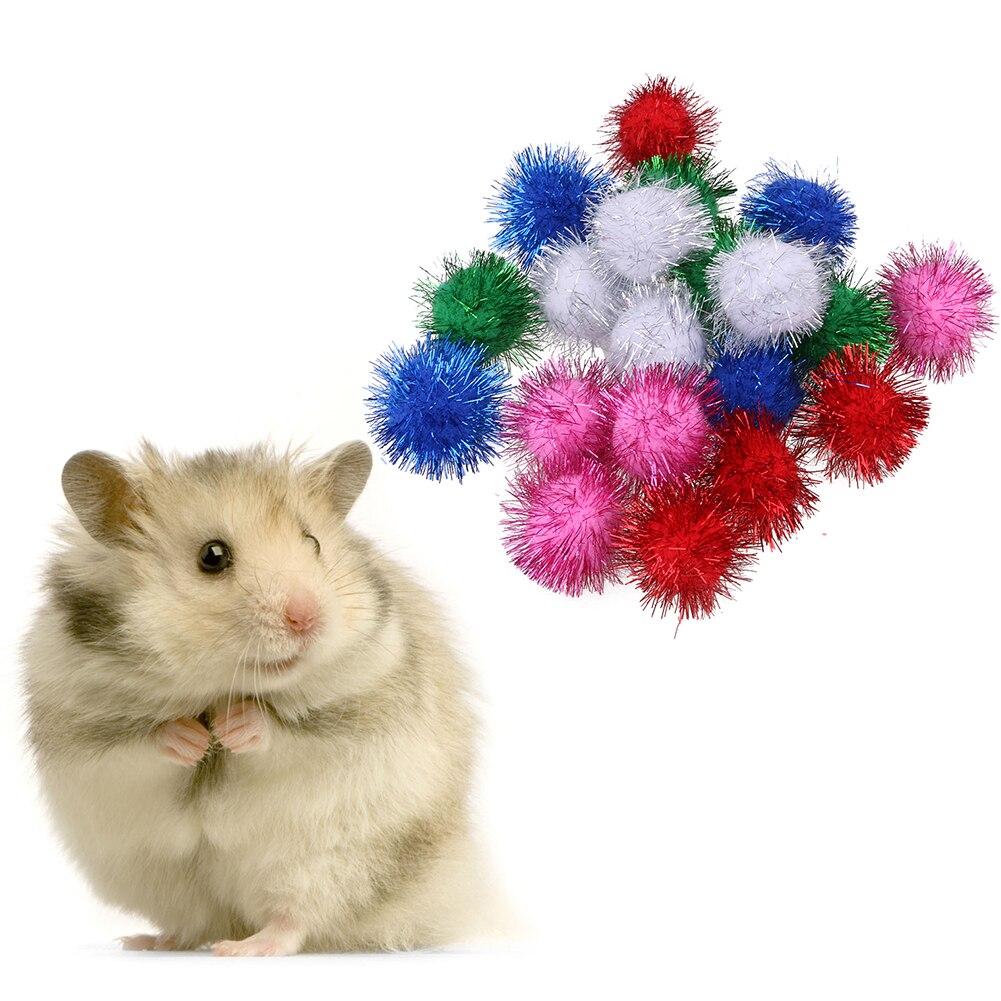 100x Blinking Pompom Balls Toys Tinsel Sprayed for Pet Cat Kitten Toys 1.5cm