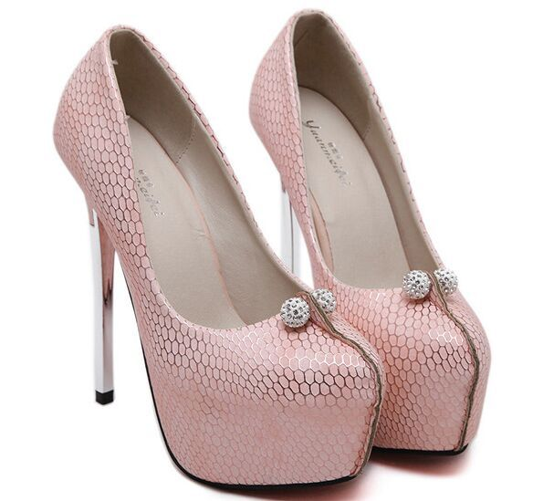 Size 4~9 Pink Wedding Shoes High Heels Shoes Platform Autumn Women Pumps White Women Shoes zapatos mujer (Check Foot Length