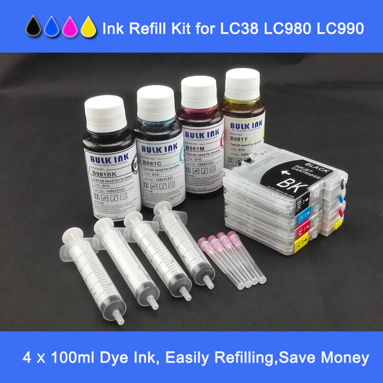 Short type Refillable cartridges with ink  plus 4*100ml  refill dye ink  for DCP-195C MFC-290C LC-980 LC 980 BK C M Y etc.