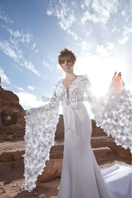 2014 Long Sleeve Bridal Gown Muslim Mermaid Flowers Alibaba Arabic ...
