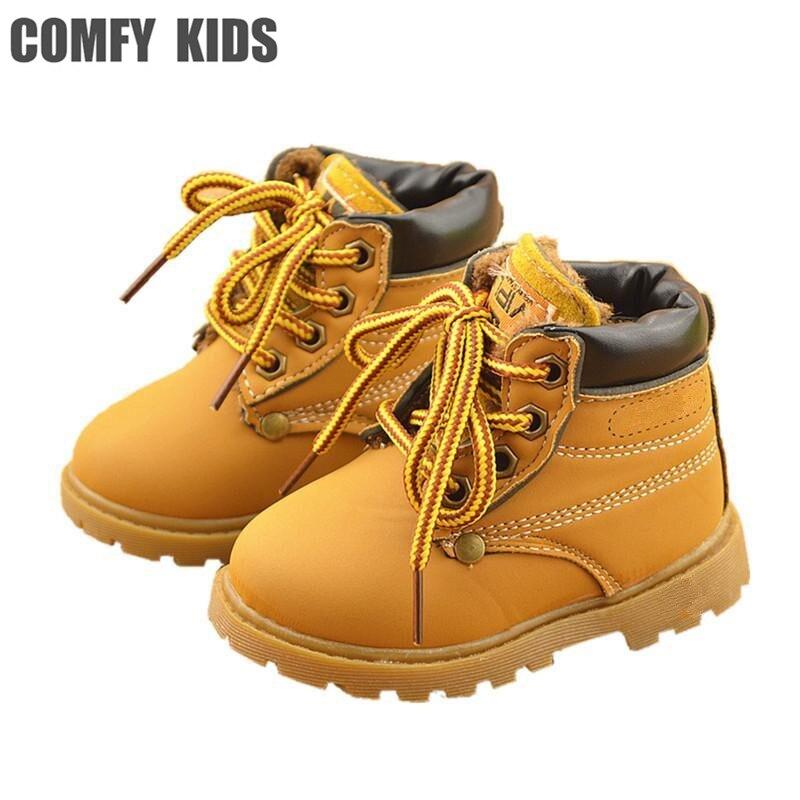 Botas de nieve de cuero cómodas para niños de invierno a la moda para niños y niñas botas calientes Martin zapatos casuales de felpa para niños y bebés