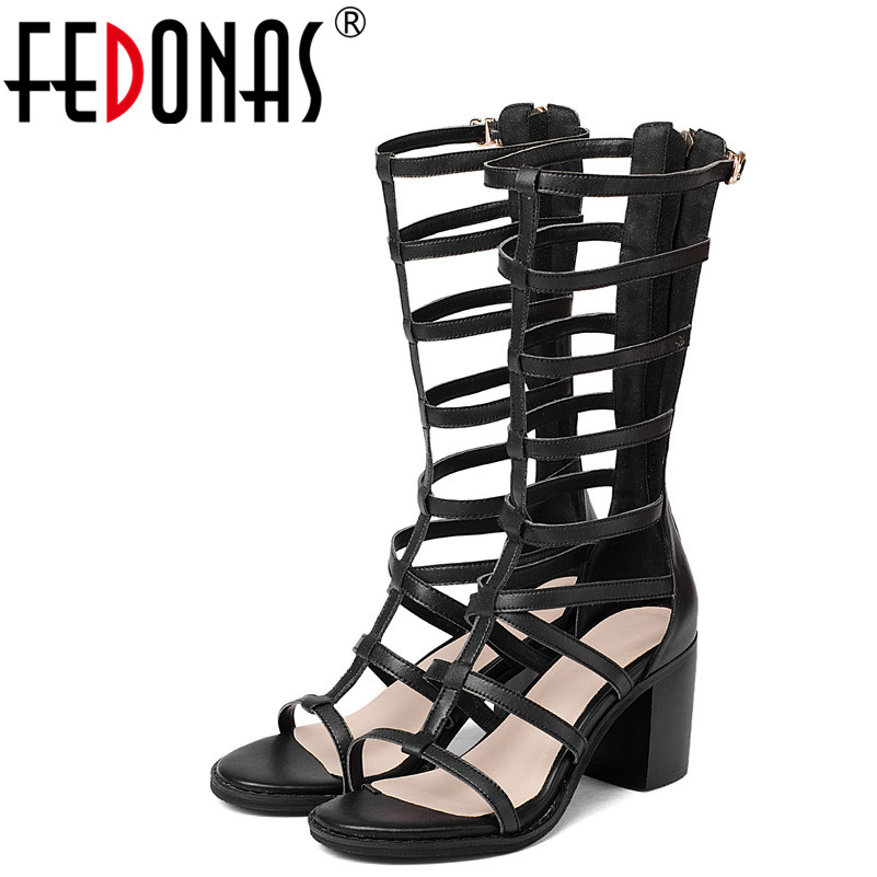 FEDONAS New 2018 Brand Genuine Leather Shoes Woman Fashion Rome Style High Heeled Sandals Summer Boots Punk Black Party Shoes tutudress 2018 new brand summer style