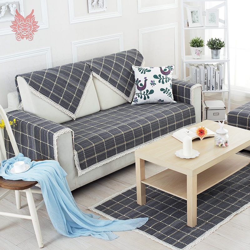 US $11.44 45% OFF|British style dark grey plaid cotton linen sofa cover  lace decor slipcovers canape geometric furniture couch covers SP3250-in  Sofa ...