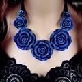 Moon Charm Blue Rose Flower False Collar Chains Ribbon Statement Necklaces & Pendants 2015 Fashion Jewelry Women Wholesale N67