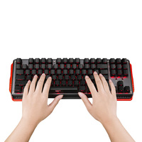 87Keys Mechanical Gaming Keyboard with Gateron Switch ABS Side Printed Red Backlit Keycaps USB Wired Keyboard for PC Mac CS LOL