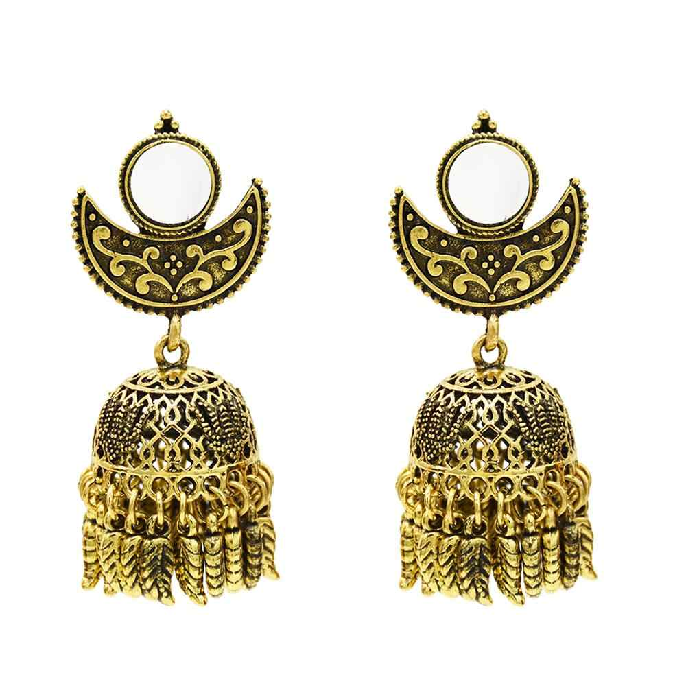Afghan Brincos Indianos Oxidado Jóias Big Noiva Do Casamento De Prata do Espelho do Ouro Tribal Gypsy Egito Nepal Jóias Étnicas