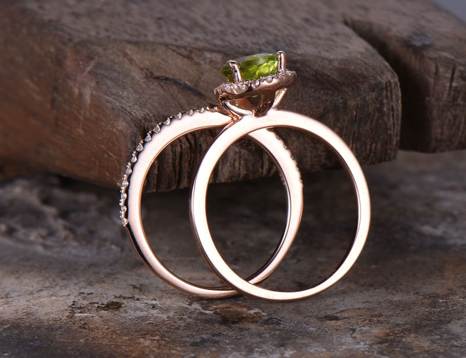 2pcs 6x8mm Pear Cut Peridot Wedding Ring Set Green Gem Engagement