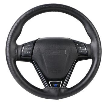Top Genuine Leather Steering Wheel Cover Breathable Design/Auto Steering-Wheel Braid Case fit car suv diameter 36cm 38cm 40cm
