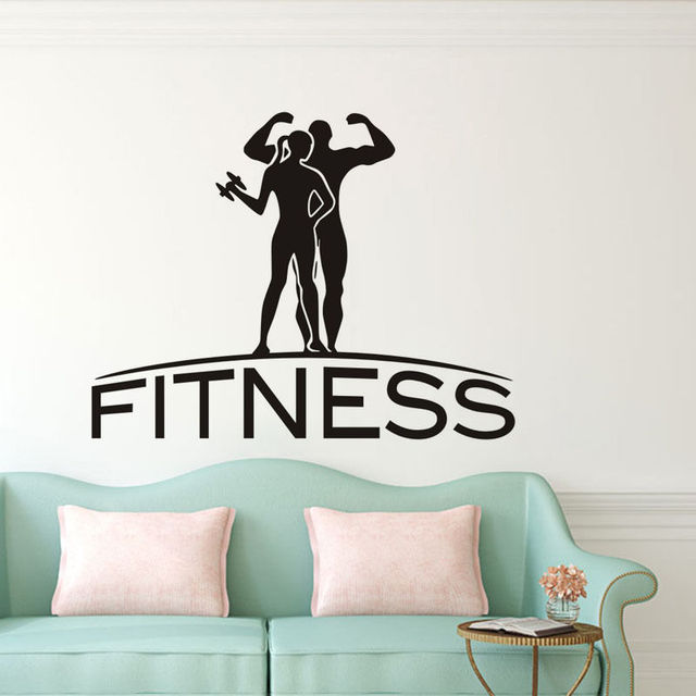 Fitness Wall Sticker Sporting Couple Quote Vinyl Wall Decal For - Sporting wall decals